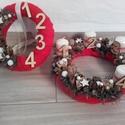 KARÁCSONYI SZETT koszorú és ajtódísz KÉSZTERMÉK, Dekoráció, Otthon, lakberendezés, Ünnepi dekoráció, Asztaldísz, Virágkötés, Mindenmás, A klasszikus karácsony jellemzői a piros, a zöld és a fehér, egy kis kockás anyag, és némi játékoss..., Meska