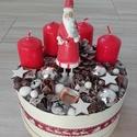 MIKULÁS BOX karácsonyi doboz KÉSZTERMÉK, Dekoráció, Otthon, lakberendezés, Ünnepi dekoráció, Asztaldísz, Mindenmás, Virágkötés, A skandináv design kedvelőinek, akik szeretik a fehér, a szürke, a barna és a piros színeket, a kis..., Meska