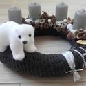 ÉSZAKI SARK jegesmedvés adventi koszorú-KÉSZTERMÉK, Dekoráció, Otthon, lakberendezés, Asztaldísz, Ünnepi dekoráció, Virágkötés, Mindenmás, Az igazi tél hófehér. A white koszorúk azoknak készülnek, akik szeretik a hóval borított táj hangul..., Meska