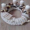 ADVENTI ASZTALDÍSZ fehér-ezüst-arany , Dekoráció, Ünnepi dekoráció, Karácsonyi, adventi apróságok, Karácsonyi dekoráció, Virágkötés, Mindenmás,   Az igazi tél hófehér. A white koszorúk azoknak készülnek, akik szeretik a hóval borított táj hang..., Meska