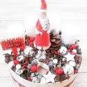 MIKULÁS BOX adventi, karácsonyi dísz, dekoráció  KÉSZTERMÉK, Dekoráció, Karácsonyi, adventi apróságok, Ünnepi dekoráció, Karácsonyi dekoráció, Mindenmás, Virágkötés, A skandináv design kedvelőinek, akik szeretik a fehér, a szürke, a barna és a piros színeket, a kis..., Meska