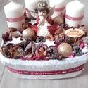ADVENTI BOX angyal karácsonyi asztaldísz, koszorú, Dekoráció, Karácsonyi, adventi apróságok, Ünnepi dekoráció, Karácsonyi dekoráció, Mindenmás, Virágkötés, Adventi box Háncs dobozt kibéleltem száraztűzőhabbal majd ebbe állítottam bele a fehér gyertyákat. ..., Meska