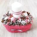 Fehér-rózsaszín ünnepváró ASZTALDÍSZ, DÍSZ, Dekoráció, Ünnepi dekoráció, Karácsonyi, adventi apróságok, Karácsonyi dekoráció, A glamour asztaldíszekre jellemző a pompa és fényűzés. A meglepetésekhez illik a lila, mályv..., Meska
