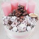 RÓZSASZÍN és FEHÉR  ünnepi asztaldísz, dísz, koszorú, Dekoráció, Ünnepi dekoráció, Karácsonyi, adventi apróságok, Karácsonyi dekoráció, A glamour asztaldíszekre jellemző a pompa és fényűzés. A meglepetésekhez illik a lila, mályv..., Meska