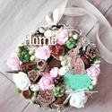 Tavaszi nyuszis-zöld-rózsaszín ajtódísz-kopogtató, Dekoráció, Otthon, lakberendezés, Húsvéti díszek, Ajtódísz, kopogtató, Mindenmás, Virágkötés, Egyedi ajtó vagy fali dísz tavaszi nyuszis stílusban készült. mérete:21cm, Meska