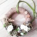 ÉDES OTTHON zöld-tavaszi-virágos DEKORÁCIÓ, Dekoráció, Otthon, lakberendezés, Dísz, Koszorú, Tavaszi dekoráció. Zöld-szürke-fehér színvilágú dekoráció. Habrózsákkal és sok terméssel és mű tojás..., Meska