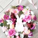 NYUSZIS tavaszi-tarka-virágos kopogtató, ajtódísz-KÉSZTERMÉK, Beköszöntött lassan a Tavasz. Nyuszis virágos ...