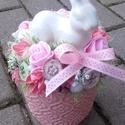 NYUSZI tavaszi- vidám- színes ASZTALDÌSZ, DEKOR, DÍSZ KÉSZTERMÉK, Tavaszi húsvéti asztaldísz, dekoráció. Rózsa...