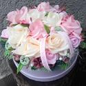 VIRÁGDOBOZ tavaszi-habrózsa asztaldísz, dekoráció, dìsz, Örök virágdoboz habrózsákból. Szeretettel,  ...