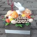 NYUSZIS tavaszi-virágos-színes asztaldísz, dísz, dekoráció NÉVNAPRA ÉS SZÜLINAPRA, Egyedi asztaldíszt készítettem. A kaspót kibé...