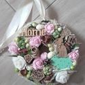 Tavaszi nyuszis-zöld-virágos-rózsaszín ajtódísz-kopogtató, Egyedi ajtó vagy fali dísz tavaszi nyuszis stíl...