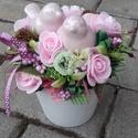MADÁRPÁR tavaszi-virágos-színes asztaldísz, dísz, dekoráció NÉVNAPRA ÉS SZÜLINAPRA, Egyedi asztaldíszt készítettem. A kaspót kibé...