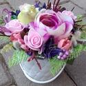 MADÁRKA tavaszi-virágos-színes asztaldísz, dísz, dekoráció NÉVNAPRA ÉS SZÜLINAPRA, Egyedi asztaldíszt készítettem. A kaspót kibé...