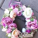 ISTEN HOZOTT tavaszi vidám- virágos tavaszi kopogtató, ajtódísz, falidísz, Tavaszi lakásdekoráció Mű boglárka és habró...