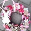 NYUSZI ÜL A FŰBE....tavaszi-virágos kopogtató, ajtódísz  KÉSZTERMÉK, Tavaszi virágos nyuszis kopogtató. Szalma alapot...