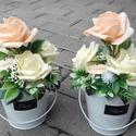 Virágos tavaszi-habrózsás asztaldísz, dísz, ANYÁK NAPJA, SZÜLINAP, NÈVNAP, Tavaszi asztaldìsz, dekoráció, dísz. A közelg...