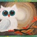 Baglyocska feszített vászon, 30×40 cm, Internetes ihletésű, akrilfestékkel készített...