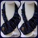 Nyakék - nyakkendő, kék-fehér, Ékszer, Nyaklánc, Az ékszer a következő alapanyagokból készült: - textil - fém medál - nikkelmentes fém eleme..., Meska
