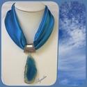 Ékszerkendő - kék, achát medál / rövid, Az ékszer a következő alapanyagokból készült...