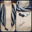 Ékszersál - kék, gyöngyös, Könnyű muszlin anyagból készült sál, világo...