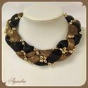 Nyakék - fekete, arany fonott tüll, gyöngy, Ez az alkalmi nyakék fekete és aranyszínű tül...
