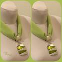 Ékszerkendő - zöld, akril gyöngy medál / rövid, Egészen különleges ékszerkendőt készítettem...