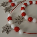 """""""Skandináv karácsony"""" szett, jáde,karkötő, nyaklánc, fülbevaló, nőnek, lánynak, ajándék, meska, gyógyhatás, Ékszer, Fülbevaló, Karkötő, Élénkpiros és fazettált hófehér színű 8mm-es jáde gyöngyök, antik ezüst színű szerelé..., Meska"""