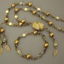 """""""Aranyló erdő"""" szett , türkizkő, ásvány, gyöngy, nyaklánc, karkötő, fülbevaló, ajándék, nőnek, Ékszer, Karkötő, Nyaklánc, Zöld-arany színvilágú szettet készítettem türkizkőből, óarany üveggyöngyből, sárgaréz..., Meska"""