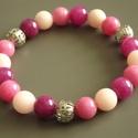 """""""Pink candy"""" jáde karkötő, élénk, színes, vidám, nyár, tavasz, fiatalos, ajándék, lánynak, Ékszer, Karkötő, Színezett jáde gyöngyök felhasználásával készült cuki karkötő pink rajongók számára. A..., Meska"""