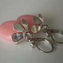 """""""Virágbimbó"""" jáde fülbevaló, ásvány,  nőnek, lánynak, ajándék, gyöngy, ékszer, drágakő, Ékszer, Fülbevaló, A fülbevaló 18mm-es ovális pink jáde és ezüstös elemek felhasználásával készült.  Teljes..., Meska"""