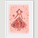 Gyerekszoba, babaszoba dekoráció kislányoknak - Királylány, királynő- A4 illusztráció, rózsaszín-piros változat, Dekoráció, Képzőművészet, Kép, Illusztráció, Gyerekszoba, babaszoba dekoráció kislányoknak - Királylány, királynő- A4 illusztráció, rózsaszín-pir..., Meska