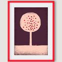 gyerekszoba, babaszoba dekoráció - Almafa rózsaszín, lila, piros illusztráció, A4 kép, Dekoráció, Képzőművészet, Kép, Illusztráció, Az Almafa számítógépes rajzból készült nyomdai nyomat.  Rózsaszín, lila, piros színekben alkalmas gy..., Meska