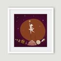 Lány csillaggal, Képzőművészet, Dekoráció, Illusztráció, Kép, Számítógépes rajzból készült nyomdai nyomat, az általam illusztrált mesekönyv egyik képének változat..., Meska