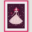 Babaszoba, gyerekszoba dekoráció, fali kép - Királylány, királynő bordó-rózsaszín - A4 illusztráció, Dekoráció, Képzőművészet, Kép, Illusztráció, Babaszoba, gyerekszoba dekoráció, fali kép - Királylány, királynő bordó-rózsaszín - A4 illusztráció,..., Meska
