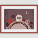 Babaszoba, gyerekszoba dekoráció - Utca macskákkal, rózsaszín, bordó A4 illusztráció, Képzőművészet, Dekoráció, Illusztráció, Kép, Az Utca macskákkal számítógépes rajzból készült nyomdai nyomat. Egy általam illusztrált könyv egyik ..., Meska