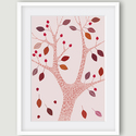 Őszi fa rózsaszín háttéren - A4 illusztráció, fali kép, dekoráció, Dekoráció, Képzőművészet, Kép, Illusztráció, Az Őszi fa rózsaszín háttéren számítógépes rajzból készült nyomdai nyomat.    Jellemzői: - A4 méret:..., Meska
