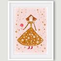 Gyerekszoba dekoráció, babaszoba dekoráció - Okker királylány, királynő rózsaszín háttéren A4 illusztráció, Képzőművészet, Dekoráció, Illusztráció, Kép, Gyerekszoba dekoráció, babaszoba dekoráció - Okker királylány, királynő rózsaszín háttéren A4 illusz..., Meska