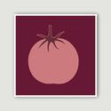 Konyhai dekoráció, falikép, rózsaszín paradicsom bordó háttéren, Képzőművészet, Illusztráció, A Rózsaszín paradicsom bordó háttéren számítógépes rajzból készült digitális nyomdai nyomat. Konyhai..., Meska