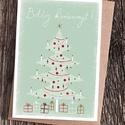 Karácsonyi képeslap halványzöld, felirattal, Karácsonyi képeslap halványzöld színben, feli...