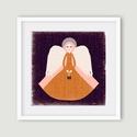 Karácsonyi angyal illusztráció - angyal sorozat 1, Karácsonyi, adventi apróságok, Karácsonyi dekoráció, Angyal illusztráció narancs-fehér-bordó 30x30 cm - angyal sorozat 3 saját rajzból készült digitális ..., Meska