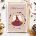 Karácsonyi képeslap, adventi üdvözlőlap koszorús, angyallal - bordó, lila, narancssárga A6, Karácsonyi képeslap  bordó, lila, narancssárga...