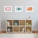 Babaszoba, gyerekszoba dekoráció falikép szett -3 állatos kép -madár, hal, sün-  egyedi illusztráció, Baba-mama-gyerek, Gyerekszoba, Baba falikép, Az állatos sorozat 3 darabját szettben megvásárolhatod. A madarat, halat és sünit ábrázoló fali kép ..., Meska