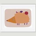 Babaszoba, gyerekszoba dekoráció állatos falikép kép - sün - A4 illusztráció, Baba-mama-gyerek, Dekoráció, Gyerekszoba, Kép, A sünit ábrázoló fali kép ideális dekoráció gyerek -és babaszoba falra, óvodákba. A saját rajzból ké..., Meska