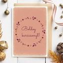 Karácsonyi képeslap, adventi üdvözlőlap koszorús - barackvirágszín,okker, lila A6, Naptár, képeslap, album, Koszorú, Képeslap, levélpapír, Karácsonyi képeslap, adventi üdvözlőlap barackvirágszín, rózsaszín, okker, lila színekben. A képesla..., Meska