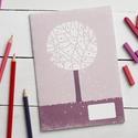Füzet, évszak sorozat, tavaszi fa A5 füzet, lila, fehér napló, jegyzet, Színes borítós, irkatűzött füzet újrahaszno...