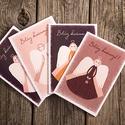 Karácsonyi képeslap szett, 4 db angyalos üdvözlőlap karácsonyi üdvözlő szöveggel bordó, rózsaszín A6, Dekoráció, Karácsonyi, adventi apróságok, Ünnepi dekoráció, Ajándékkísérő, képeslap, 4 db karácsonyi képeslap bordó, rózsaszín, fehér, narancssárga színekben. Angyalok, saját illusztrác..., Meska