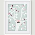 Babaszoba dekoráció, fali kép, fehér fa kék háttéren madárral- A4 illusztráció, Dekoráció, Képzőművészet, Kép, Illusztráció, Babaszoba dekoráció, fali kép, fehér fa kék háttéren, piros bogyókkal, rózsaszín madárral elsősorban..., Meska