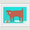 Gyerekszoba dekoráció, fali kép, piros macska esőben, kék háttéren A4 illusztráció, Dekoráció, Képzőművészet, Kép, Illusztráció, Gyerekszoba dekoráció, fali kép, piros macska esőben, kék háttéren A4 illusztráció saját rajz.  Jell..., Meska