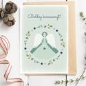 Karácsonyi képeslap, adventi üdvözlőlap koszorús, angyallal - zöld, fehér, kék A6, Naptár, képeslap, album, Koszorú, Képeslap, levélpapír, Karácsonyi képeslap zöld, fehér és kék színekben, valamint plusz két színvariációban, melyet a képek..., Meska
