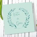 Elegáns, egyedi esküvői, eljegyzési emlékkönyv, vendégkönyv, napló kékeszöld-kék színekben, Esküvő, Nászajándék, Elegáns és egyedi esküvői, eljegyzési emlékkönyv, vendégkönyv, napló, a borítón és előzéken saját il..., Meska